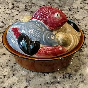 "Portuguese 6.5""x5"" Fish Covered Dish New!"